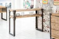 Massieve console FACTORY 120cm Acacia teakgrau wit gekalkt met dubbele plank