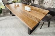 Massieve eettafel IRON CRAFT 160 cm mangohout ijzer industrieel design