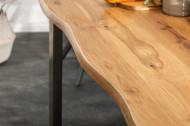 Massieve eettafel met boomrand LIVING EDGE 180 cm geolied wild eiken 3,5 cm tafelblad
