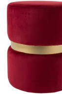 Poef Rond Velours stof Rood/Goud