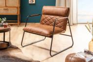 Retro fauteuil antiek lichtbruin met sierstiksels