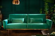 Retro slaapbank BELLEZZA 208 cm smaragdgroen fluwelen 3-zits bank inclusief kussens