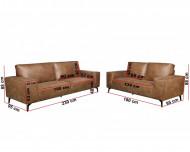 Bankstel Pu Cognac model retro 3 en 2 zits