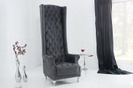 Barokke Troonstoel antiek grijs met decoratieve doorgestikte Chesterfield fauteuil