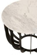 Bijzettafel Rond Marmer/ijzer Wit/Zwart