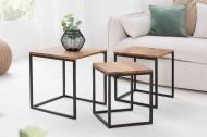 Design bijzettafel set van 3 ELEMENTS 40cm Sheesham metalen frame zwart