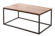Design salontafel ELEMENTS 100cm Sheesham steen afwerking ijzer zwart mat