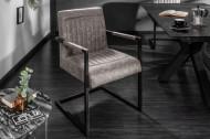 Design sledestoel BIG GEORGE vintage grijs met veerkern en armleuning