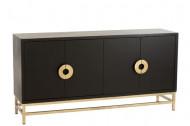dressoir kast Mango Hout 4 deurs/Ijzer Zwart/Goud 160cm