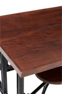 Eettafel Mangohout 4 Draai Stoelen Metaal Zwart Hout Bruin 130cm