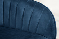 Eettafelstoel koningsblauw fluweel met sierstiksels