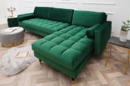 Elegante loungebank COSY VELVET 260 cm smaragdgroen fluwelen stof.lounge gedeelte aan beide zijden op te monteren.