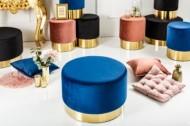 Elegante MODERNE BAROK fluweel stof blauw/gouden kruk