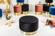Elegante  MODERNE BAROK fluwelen zwart/gouden kruk
