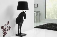 Extravagante vloerlamp BLACK HORSE 130 cm zwart paardenfiguur
