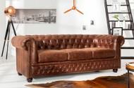 Hoge kwaliteit lederen sofa Chesterfield 3-zits vintage Bruin
