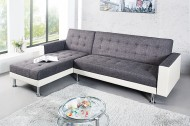 Loungebank model: Chaise + Slaapfunctie - Antraciet / Wit