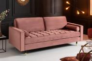Luxe design 3-zitsbank 225 cm zitcomfort pocketvering bekleding fluweel stof oudroze