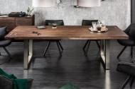 Massief Acaciahout eettafel MAMMUT ARTWORK 200 cm 6 cm blad met azijnafwerking roestvrij staal