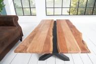 Massief houten salontafel AMAZONAS 120 cm acacia metaal zwarte boomrand