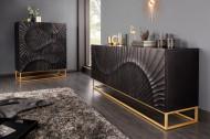Massief tv-dressoir SCORPION 160 cm zwart mangohout, gedetailleerd 3D-houtsnijwerk