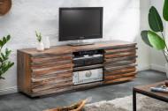 Massief tv-lowboard RELIEF 150 cm rookafwerking Sheesham hout met een uitgewerkte voorkant