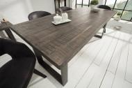 Massieve eettafel IRON CRAFT 180 cm mangohout grijs ijzer industrieel design