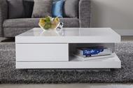 Moderne Design Salontafel Hoogglans Wit met 2 Lades model-function