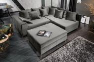 Moderne hoekbank LOFT 220cm zilvergrijs fluweel stof incl Hocker en kussens.lounge gedeelte aan beide zijden op te monteren.