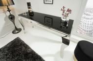 Moderne Sidetable console tafel MODERN BAROK 140 cm zwart roestvrij staal opaal glazen tafelblad