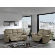 Relax Bankstel Salon Zetel 3+2 Leer kleur Taupe