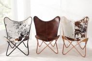 Retro fauteuil BUTTERFLY bruin met echt lederen bekleding koperen frame