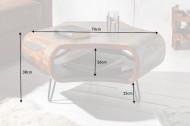 Retro salontafel ORGANIC LIVING 70cm grijze rookafwerking Sheesham palissander haarspeldpoten