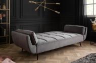 Retro slaapbank BOUTIQUE 213 cm grijs fluweel met zwarte poten