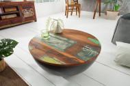 Salontafel JAKARTA 70 cm grijs rond gemaakt van gerecyclede vissersboten