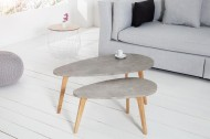 Set van 2 salontafel SCANDINAVIA CEMENT van echte eiken (betonlook)
