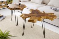 Unieke bijzettafel WILD 55cm teakhouten salontafel