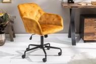 Bureaustoel verstelbaar in hoogte DUTCH COMFORT mosterdgeel stof fluweel met doorgestikte stiksels