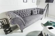 Chesterfield 3-zitsbank PARIS 225 cm grijs met 2 springkussens