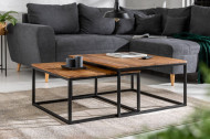 Design salontafel set van 2 ELEMENTS 75 cm Sheesham steen afwerking met ijzeren frame