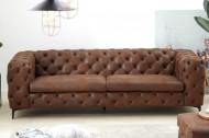 Elegante Chesterfield 3-zits bank MODERN BAROK 240 cm antiek bruin
