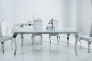 Elegante design eettafel MODERN BAROQUE 180cm wit roestvrijstalen opaal glazen tafelblad