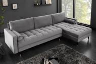 Elegante loungebank COSY VELVET 260 cm grijze fluwelen stof.lounge gedeelte aan beide zijden op te monteren.