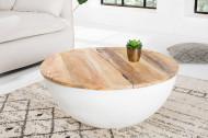 Elegante salontafel INDUSTRIAL STORAGE 70 cm mangohouten planken wit