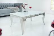 Elegante salontafel MODERN BAROQUE 100cm zilver met wit opaal glas