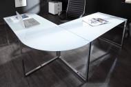 Exclusief design hoekbureau 180 cm glas wit