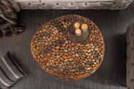 Extravagante salontafel STONE MOSAIC 85 cm koper handgemaakte mozaïek optiek