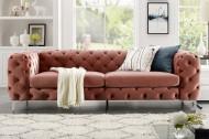 Fluwelen sofa MODERN BAROK abrikoos 3-zits Chesterfield-design
