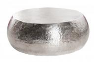Handgemaakte salontafel ORIENT 80cm zilver hamerslag design