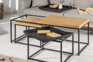 Industriële salontafels Set van 3 eiken look afneembaar dienblad